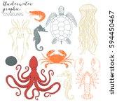 underwater creatures graphic... | Shutterstock .eps vector #594450467