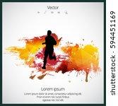 silhouette of marathon runner | Shutterstock .eps vector #594451169