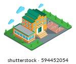 isometric vector illustration.... | Shutterstock .eps vector #594452054