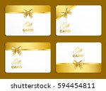 golden gift card set with bow.... | Shutterstock .eps vector #594454811