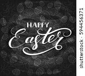 white lettering happy easter... | Shutterstock .eps vector #594456371