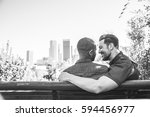 homosexual couple at a romantic ... | Shutterstock . vector #594456977