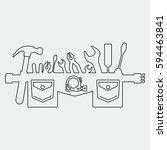 silhouette of tool belt. flat... | Shutterstock .eps vector #594463841
