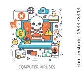 concept of virus  piracy ... | Shutterstock .eps vector #594473414