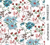 seamless floral pattern in... | Shutterstock .eps vector #594485519