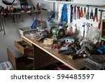 messy workshop  complete chaos... | Shutterstock . vector #594485597