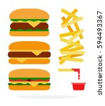 cheeseburger  burger with beef  ... | Shutterstock .eps vector #594493367
