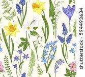 vintage seamless floral pattern.... | Shutterstock .eps vector #594493634