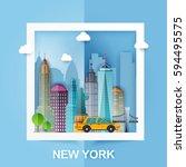 new york. skyline and vector...   Shutterstock .eps vector #594495575