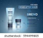 packing of cosmetic after shave ... | Shutterstock .eps vector #594499805