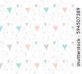 doodle heart seamless pattern... | Shutterstock .eps vector #594507389