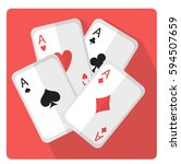 playing cards with aces icon... | Shutterstock .eps vector #594507659
