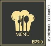 chef hat with mustache. foods... | Shutterstock .eps vector #594508544