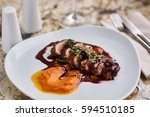 duck breast magret with mashed... | Shutterstock . vector #594510185