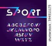 sans serif font in sport style. ... | Shutterstock .eps vector #594511175