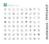 thin line icons set. flat... | Shutterstock .eps vector #594516419