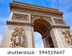 arc de triomphe in paris arch... | Shutterstock . vector #594519647