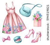 watercolor wedding fashion... | Shutterstock . vector #594519821