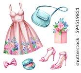 watercolor wedding fashion... | Shutterstock . vector #594519821