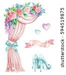 watercolor wedding illustration ... | Shutterstock . vector #594519875