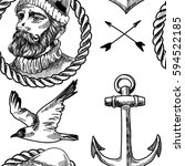 pattern in the marine style.... | Shutterstock .eps vector #594522185