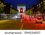 arc de triomphe in paris arch... | Shutterstock . vector #594524057