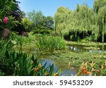 lush garden with willow trees... | Shutterstock . vector #59453209