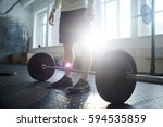 cross bar on the floor of gym... | Shutterstock . vector #594535859