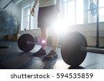 cross bar on the floor of gym...   Shutterstock . vector #594535859