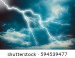 lightning strike on the dark... | Shutterstock . vector #594539477