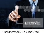 business man pointing hand on... | Shutterstock . vector #594550751