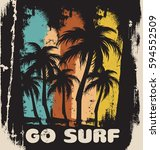 go surf. quote typographical... | Shutterstock .eps vector #594552509