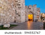 jaffa gate at night   jerusalem ... | Shutterstock . vector #594552767