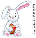 cartoon bunny toy hugging... | Shutterstock . vector #594553571