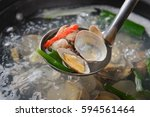 jogae tang is  scallop  clam  ... | Shutterstock . vector #594561464