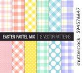 easter colors polka dots ... | Shutterstock .eps vector #594576647