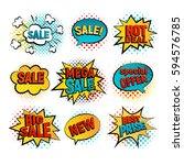 sale pop art vector set. big ... | Shutterstock .eps vector #594576785