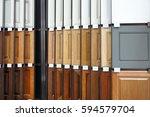 Stock photo wood cabinet door samples in market in a row 594579704