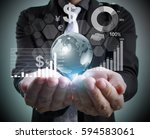 businessman with financial... | Shutterstock . vector #594583061