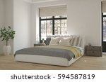 white bedroom with winter... | Shutterstock . vector #594587819