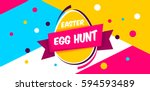 Happy Easter yellow,blue background with colorful egg, confetti and ribbon. Egg hunt for children template layout. Vector illustration. Easter. Sale tempalte. | Shutterstock vector #594593489