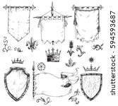 vector hand drawn collection of ...   Shutterstock .eps vector #594593687