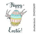 hand drawn vector happy easter... | Shutterstock .eps vector #594593699