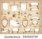 vector hand drawn collection of ... | Shutterstock .eps vector #594593729