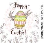 hand drawn vector happy easter... | Shutterstock .eps vector #594593741