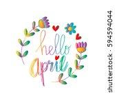 hello april hand lettering... | Shutterstock .eps vector #594594044