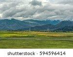 scenery along the railway in... | Shutterstock . vector #594596414