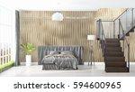 modern bright interior . 3d... | Shutterstock . vector #594600965
