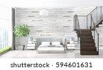 modern bright interior . 3d... | Shutterstock . vector #594601631