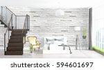 modern bright interior . 3d... | Shutterstock . vector #594601697